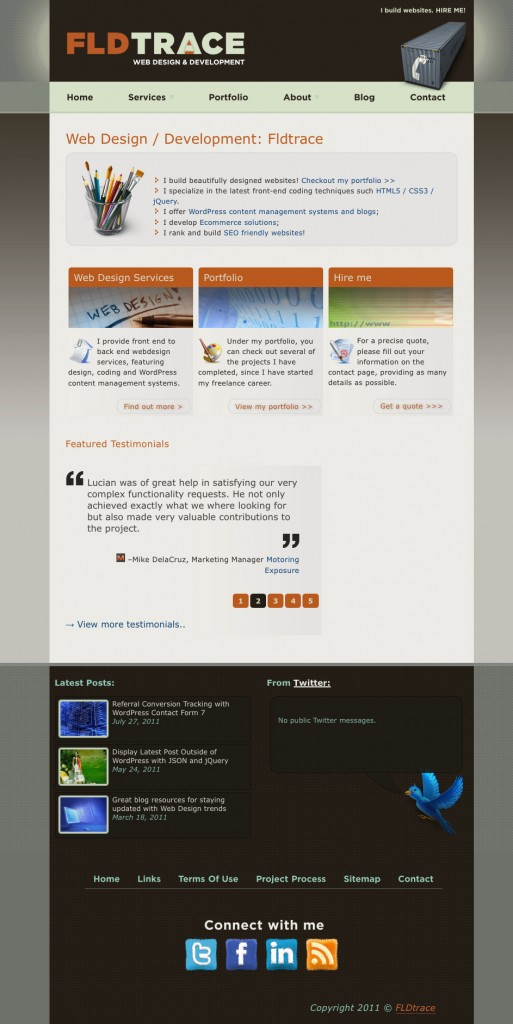 My old website home page design
