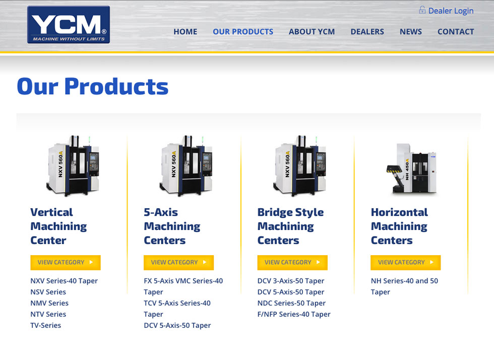 YCM products landing