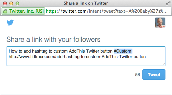 How to add hashtag to custom AddThis Twitter button
