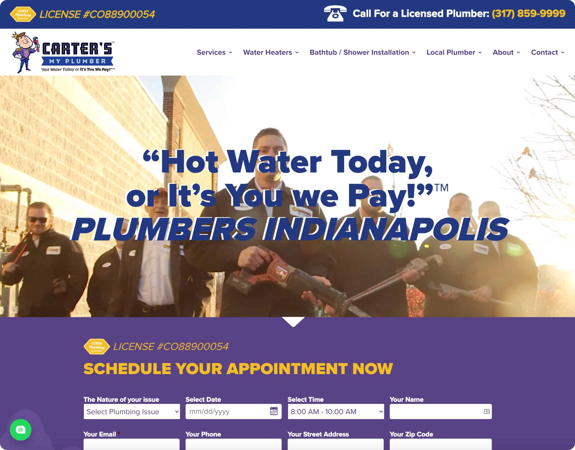 Carter's My Plumber Website Screenshot